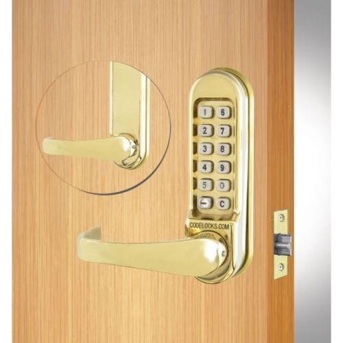 Codelock CL515PB Heavy Duty Tubular Keypad Latchbolt Lock with Code Free Option Polished Brass Finish