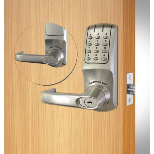 Codelock CL5210BSIC Heavy Duty Electronic Keypad Lever Latchbolt Lock with Interchangeable Cylinder Brushed Steel Finish