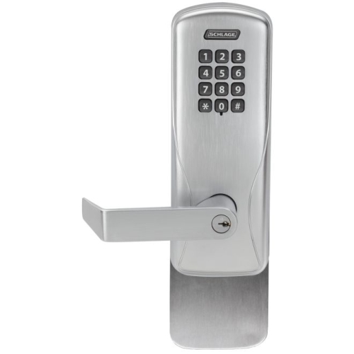 Schlage Electronic CO100993S70KPRHO626 Standalone Keypad Programmable Electronic Lock Surface Vertical Exit Trim Classroom / Storeroom Keypad Rhodes Lever Satin Chrome Finish