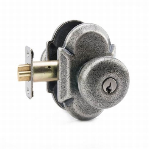 MaxGrade AD31400 Windsor Knob Entry Lock with Arch Rose with Adjustable Latch and Full Lip Strike Rustic Pewter Finish
