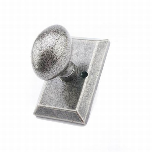 MaxGrade AG11478 Henley Knob Half Dummy Lock with Rectangular Rose Rustic Pewter Finish