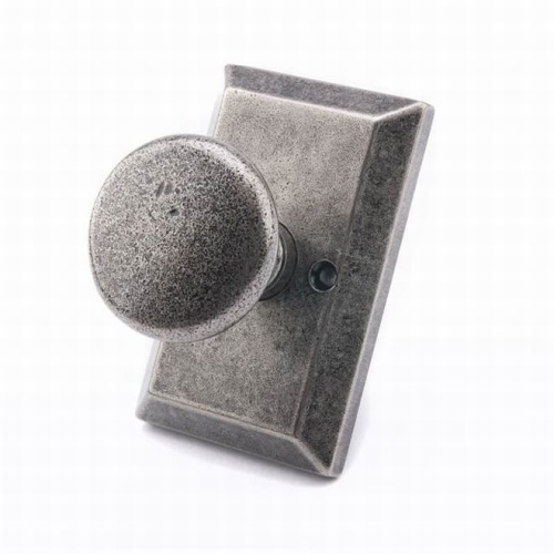 MaxGrade AG31478 Windsor Knob Half Dummy Lock with Rectangular Rose Rustic Pewter Finish