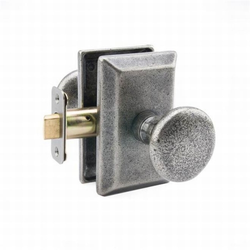 MaxGrade AG31482 Windsor Knob Passage Lock with Rectangular Rose with Adjustable Latch and Full Lip Strike Rustic Pewter Finish