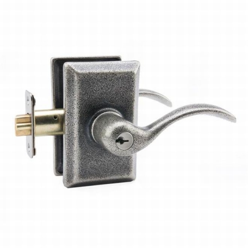 MaxGrade AGD1400RH Right Hand Welland Lever Entry Lock with Rectangular Rose with Adjustable Latch and Full Lip Strike Rustic Pewter Finish
