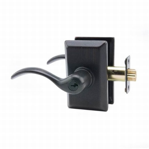 MaxGrade AGD3900LH Left Hand Welland Lever Entry Lock with Rectangular Rose with Adjustable Latch and Full Lip Strike Tuscany Bronze Finish
