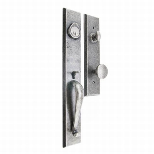 MaxGrade HL31410 Active Single Cylinder Severn Exterior Handleset with Windsor Trim with Adjustable Latch, Full Lip and Deadbolt Strikes Rustic Pewter Finish