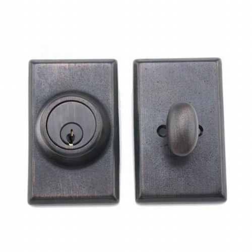 MaxGrade LG23910 Single Cylinder Rectangular Deadbolt with Adjustable Latch and Deadbolt Strike Tuscany Bronze Finish