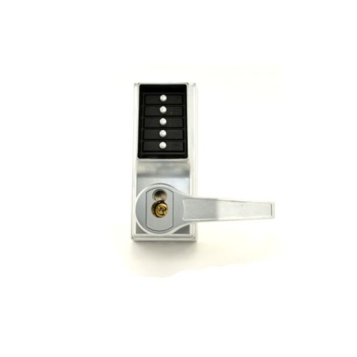 Dormakaba RR8148S26D Right Hand Reverse Mechanical Pushbutton Lever Mortise Combination Entry Passage Lockout with Deadbolt and Key Override Schlag...
