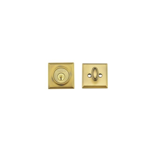 Baldwin Reserve SCTSD049 Single Cylinder Traditional Square Deadbolt with 6AL Latch and Dual Strike Matte Brass and Black Finish