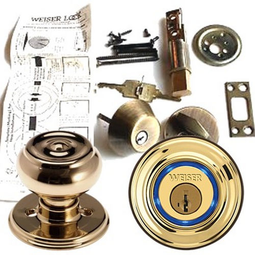 Weiser Lock GAC101B3V1 Beverly Passage Door Lock with New Chassis with 6 Way Adjustable Latch and Round Corner Strike Bright Brass Finish