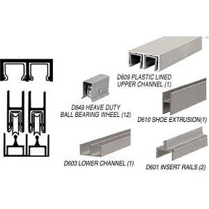 CRL D2300BNBB Deluxe Track Assembly D609 Upper and D603 Lower Track with Ball-Bearing Wheels, Brushed Nickel