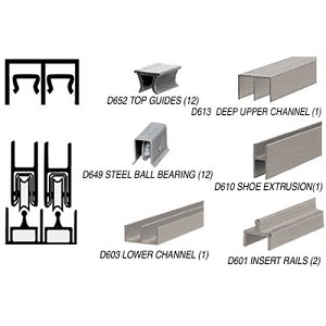 CRL D2307BNBB Deluxe Track Assembly D613 Upper and D601 Rail with Ball-Bearing Wheels, Brushed Nickel