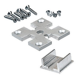 "CRL D1990A4W 2"" x 2"" 4-Way Partition Post Base Plate Kit"