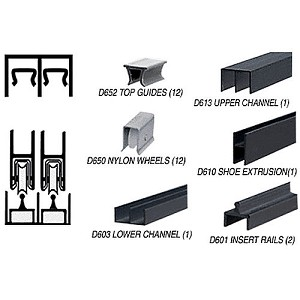 CRL D2307BL Deluxe Track Assembly D613 Upper and D601 Rail, Flat Black
