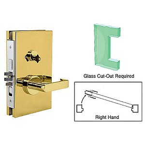CRL DL610REPB RH Center Lock With Deadlatch, Polished Brass