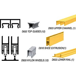 CRL D2203GATrack Assembly D603 Upper and D602 Lower Track, Gold Anodized