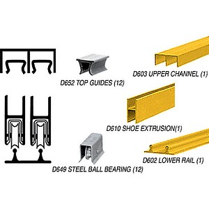 CRL D2203GABBTrack Assembly D603 Upper and D602 Lower Track with Ball-Bearing Wheels, Gold Anodized
