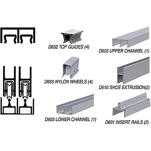 CRL D2301BN72 Deluxe Packaged Track Assembly D603 Upper and D601 Rail, Brushed Nickel
