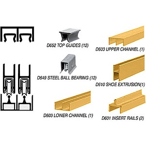 CRL D2301GABB Deluxe Track Assembly D603 Upper and D601 Rail with Ball-Bearing Wheels, Gold Anodized