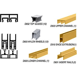 CRL D2301GA Deluxe Track Assembly D603 Upper and D601 Rail, Gold Anodized