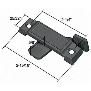 "CRL F2591 Sliding Window Lock with 2-1/4"" Screw Holes and 5/8"" Latch Projection, Black"