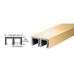 CRL D609BGA Plastic Lined Double Upper Channel, Brite Gold Anodized