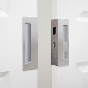 "Cavity Sliders CL400D0143 CaviLock 1-3/4"" Thick Double Door - Privacy Emergency/Snib, Satin Chrome"