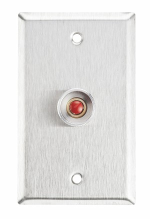 Alarm Controls RP26  Push Button Single Gang Normally Open Red, Satin Stainless Steel