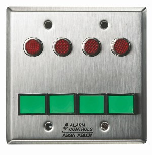 "Alarm Controls SLP-4M Monitoring/Control Station  Double Gang Stainless Steel 4Ea Dsw-3 III Gn 12V 4Ea 1/2"" Red LED All"