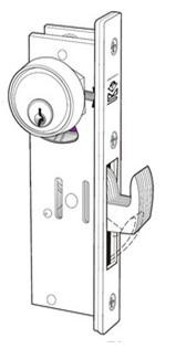 Door Controls HBL01-1-1/8 Mortise Lock, Hook Bolt Lock Body 1 1/8', Back Set