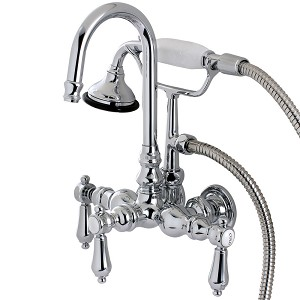 Kingston Brass AE8T1BAL Aqua Eden Bel Air Wall Mount Clawfoot Tub Faucet, Polished Chrome