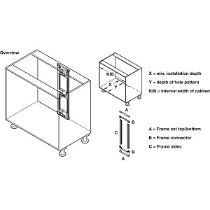 Hafele 553.00.311 Frame Sides, for Sensomatic Drawer Opener