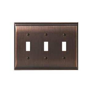"Amerock BP36502ORB 4-9/10"" x 6-1/2"" Candler Triple Toggle Wall Plate Oil Rubbed Bronze Finish"
