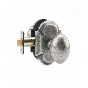 MaxGrade AD11430 Henley Knob Privacy Lock with Arch Rose with Adjustable Latch and Full Lip Strike Rustic Pewter Finish