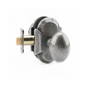MaxGrade AD11482 Henley Knob Passage Lock with Arch Rose with Adjustable Latch and Full Lip Strike Rustic Pewter Finish