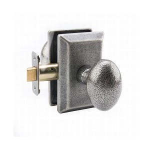 MaxGrade AG11482 Henley Knob Passage Lock with Rectangular Rose with Adjustable Latch and Full Lip Strike Rustic Pewter Finish