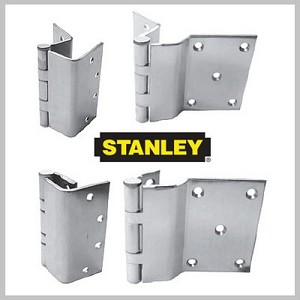 "Stanley Security FBB17941244 4-1/2"" x 4"" Steel Full Mortise Ball Bearing Standard Weight Square Corner Hinge # 063437 Satin Brass Finish"