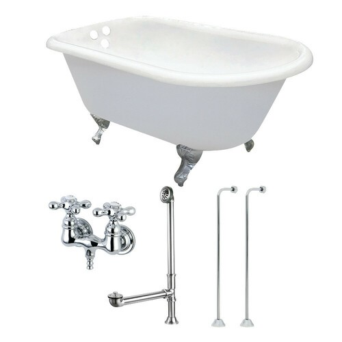 Kingston Brass KCT3D543019C1 54-Inch Cast Iron Roll Top Clawfoot Tub Combo with Faucet and Supply Lines, White/Polished Chrome