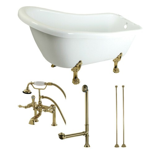 Kingston Brass KTDE692823C2 67-Inch Acrylic Single Slipper Clawfoot Tub Combo with Faucet and Supply Lines, White/Polished Brass