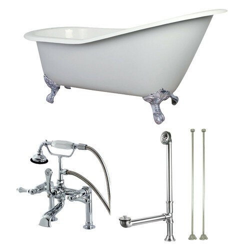 Kingston Brass KCT7D653129C1 62-Inch Cast Iron Single Slipper Clawfoot Tub Combo with Faucet and Supply Lines, White/Polished Chrome