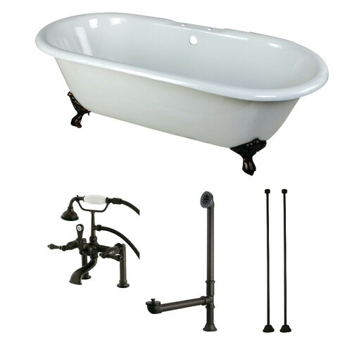 Kingston Brass KCT7D663013C5 66-Inch Cast Iron Double Ended Clawfoot Tub Combo with Faucet and Supply Lines, White/Oil Rubbed Bronze