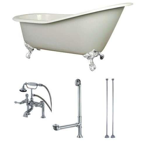 Kingston Brass KCT7D653129CW 62-Inch Cast Iron Single Slipper Clawfoot Tub Combo with Faucet and Supply Lines, White
