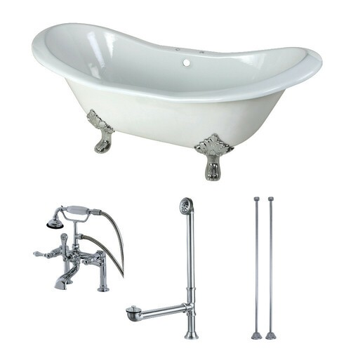 Kingston Brass KCT7D7231C1 72-Inch Cast Iron Double Slipper Clawfoot Tub Combo with Faucet and Supply Lines, White/Polished Chrome