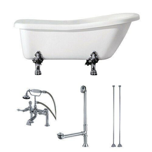 Kingston Brass KTDE692823C1 67-Inch Acrylic Single Slipper Clawfoot Tub Combo with Faucet and Supply Lines, White/Polished Chrome