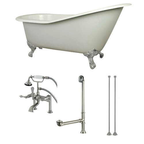 Kingston Brass KCT7D653129C8 62-Inch Cast Iron Single Slipper Clawfoot Tub Combo with Faucet and Supply Lines, White/Brushed Nickel