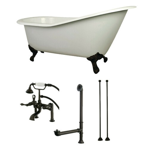 Kingston Brass KCT7D653129C5 62-Inch Cast Iron Single Slipper Clawfoot Tub Combo with Faucet and Supply Lines, White/Oil Rubbed Bronze