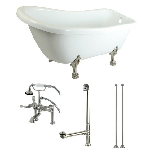 Kingston Brass KTDE692823C8 67-Inch Acrylic Single Slipper Clawfoot Tub Combo with Faucet and Supply Lines, White/Brushed Nickel