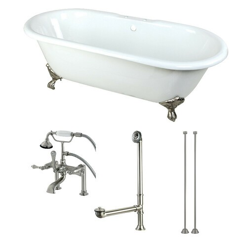 Kingston Brass KCT7D663013C8 66-Inch Cast Iron Double Ended Clawfoot Tub Combo with Faucet and Supply Lines, White/Brushed Nickel