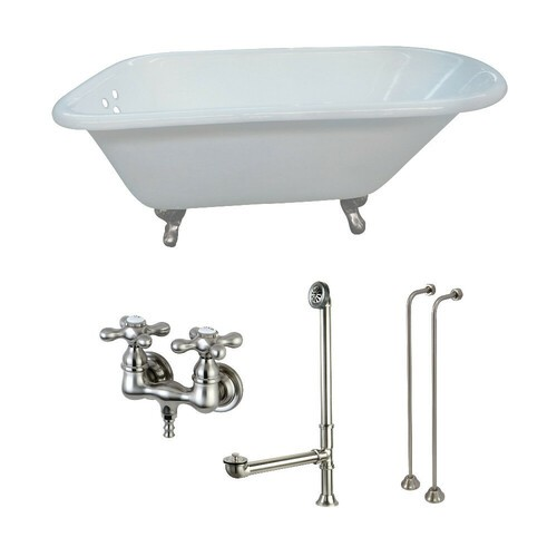 Kingston Brass KCT3D543019C8 54-Inch Cast Iron Roll Top Clawfoot Tub Combo with Faucet and Supply Lines, White/Brushed Nickel