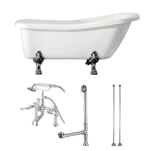 Kingston Brass KVTDE692823C1 67-Inch Acrylic Single Slipper Clawfoot Tub Combo with Faucet and Supply Lines, White/Polished Chrome